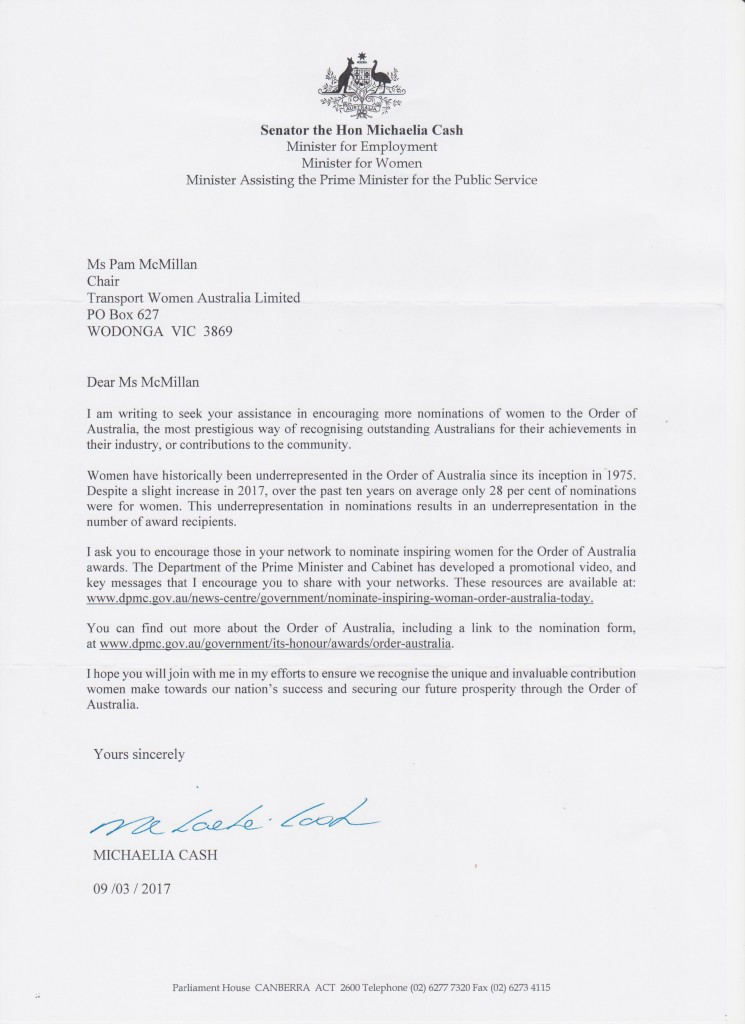Letter from Michaelia Cash re OAM nominations